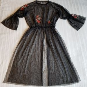 Zara woman Tulle Tunic with Sequined Embroidery